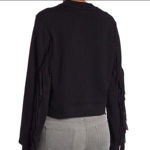 All Saints Black Fringe Sleeve Cropped Sweatshirt